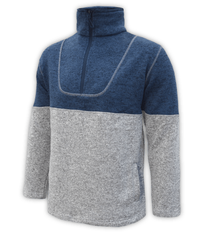 Renegade-mens-half-zip-fleece-pullover-north-shore-salt-and-pepper-gray-denim-blue-soft-two-tone