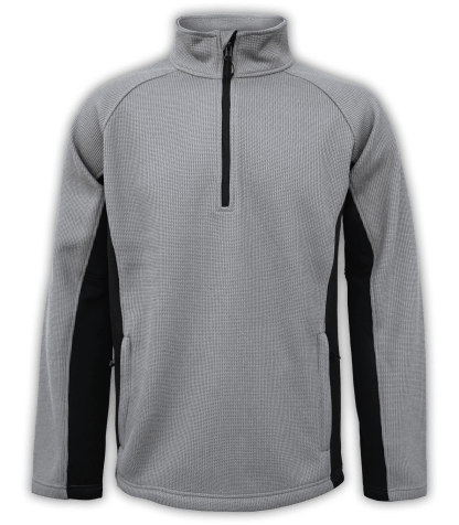 Renegade-club-mens-half-zip-fleece-pullover-coarse-weave-black-gray-ski-jacket
