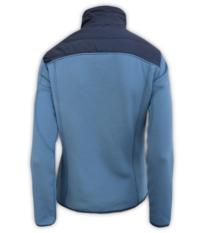 Renegade-womens-full-zip-fleece-jacket-woven-power stretch-blue-fitted-ski-jacket-light-back
