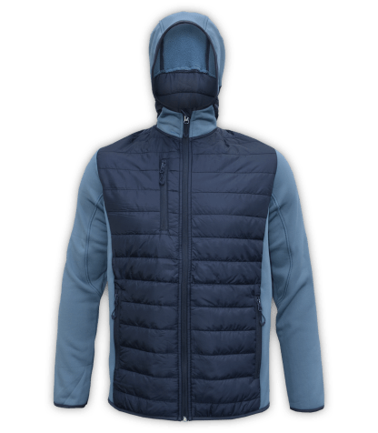 Renegade-mens-full-zip-fleece-jacket-woven-power stretch-blue-ski-jacket-light-hood-pockets