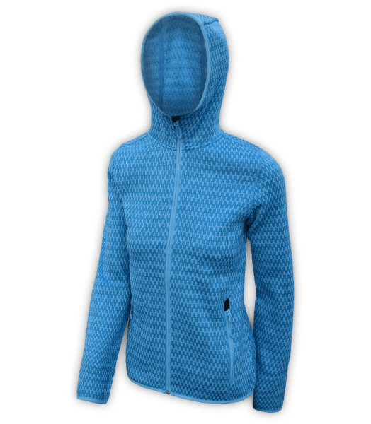 Renegade-club-womens-full-zip-fleece-jacket-north shore-checkered-peri-blue-fitted-outdoor-jacket-soft-hood