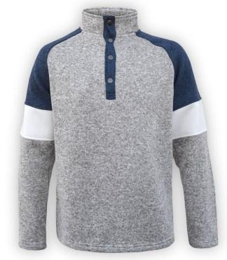 renegade men's north shore fleece snap pullover, tricolor, blue denim, gray sweater, slat & pepper, stand up collar,