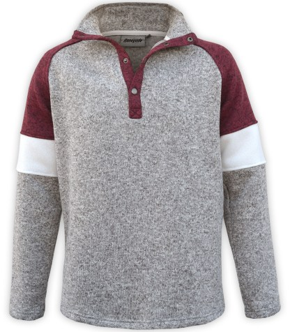 renegade men's north shore fleece snap pullover, tricolor, maroon purple red, gray sweater, wholesale embroidered fleece, stand up collar,