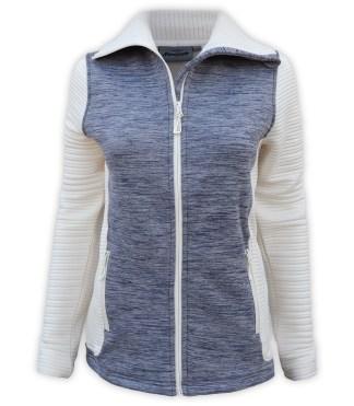 renegade power stretch fleece jacket, 3d fleece sleeves jacket, extended stand-up collar, blue, gray, cream, white