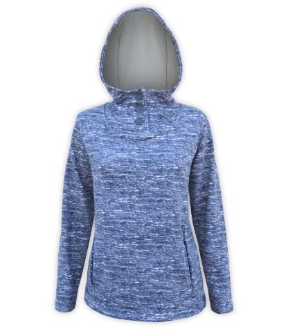 renegade club brand, ultra soft brushed fleece hoodie pullover, blue, navy buttons, fleece jacket pockets