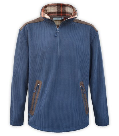 Renegade club corded fleece half zip pullover, wholesale fleece brand jacket, corduroy, plaid lining, zipper pockets, blue, denim, brown