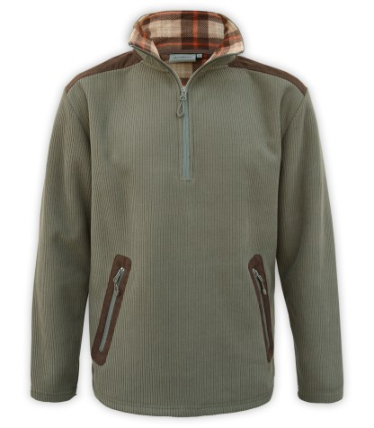 Renegade club corded fleece half zip pullover, wholesale fleece brand jacket, corduroy, plaid lining, zipper pockets, green, olive, brown