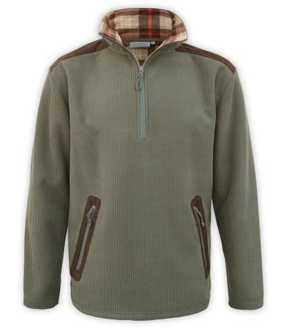 Renegade club corded fleece half zip pullover, wholesale fleece brand jacket, corduroy, plaid lining, zipper pockets, green, olive, brown