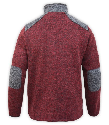 Renegade club north shore fleece elbow patch sweater men, back, maroon, gray, zipper, wholesale