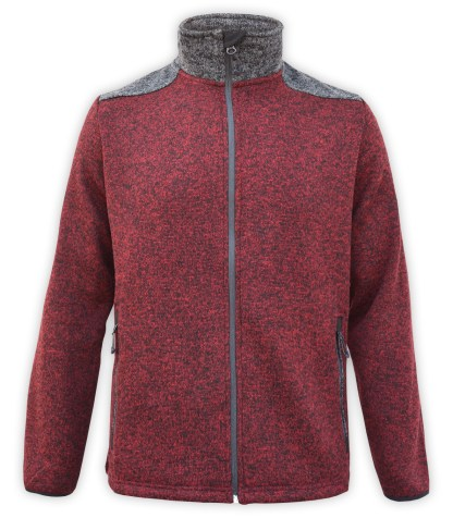 Renegade club north shore fleece elbow patch sweater men, color blocking, maroon, gray, zipper, wholesale