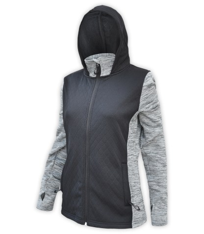 renegade club women's full zip jacket, diamond 3d fleece, power stretch fleece, zipper black gray