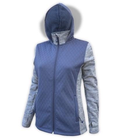 renegade club women's full zip jacket, diamond 3d fleece, power stretch fleece, zipper blue gray