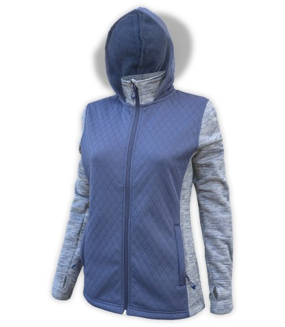 renegade club women's full zip jacket, diamond 3d fleece, power stretch fleece, zipper blue gray