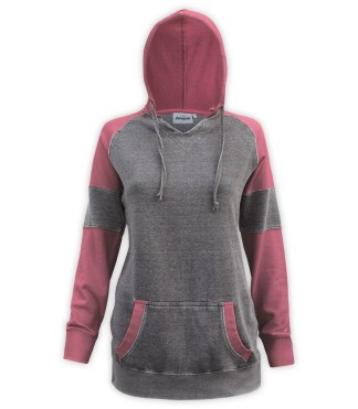 Renegade club brand burnout long pullover, women's color block v-notch, fleece pullover hoodie, cardinal, red, burgundy