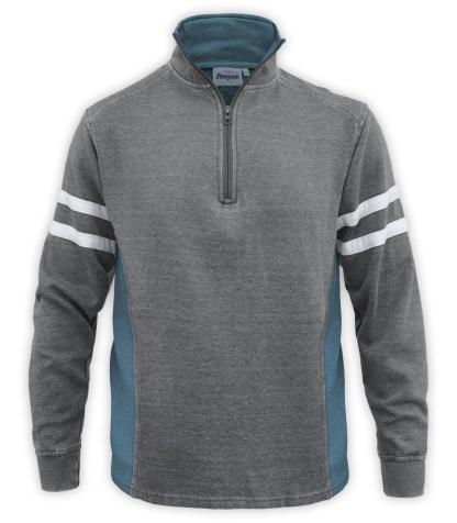Renegade club brand men's burnout pullover, half zip, quarter zip, midnight, teal, blue, cardinal, white stripes, fleece sweater
