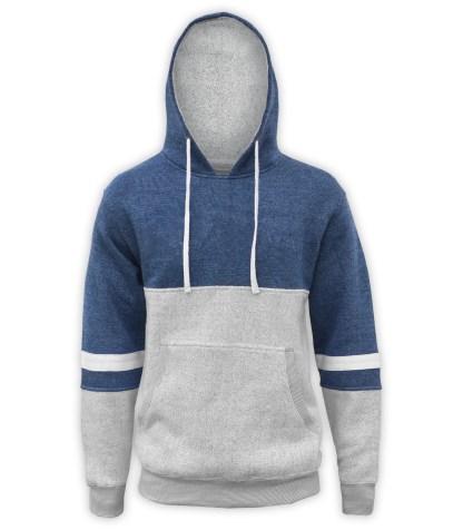 renegade club brand hoodie, blue gray white fleece pullover, nantucket fleece fabric, stripes, blue denim, navy