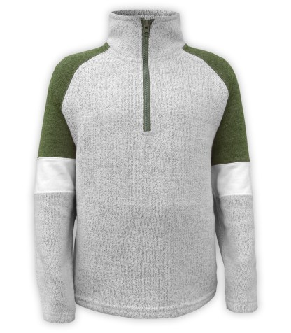 Renegade Club youth pullover, nantucket fleece soft fabric sweater, half zip, olive, green, gray white arm bands stand up collar, wholesale pullover kids