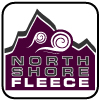 North Shore Fleece fabric logo, purple, mountain wind, signature fabric, square