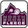 North Shore Fleece fabric logo, purple, mountain wind, signature fabric, square