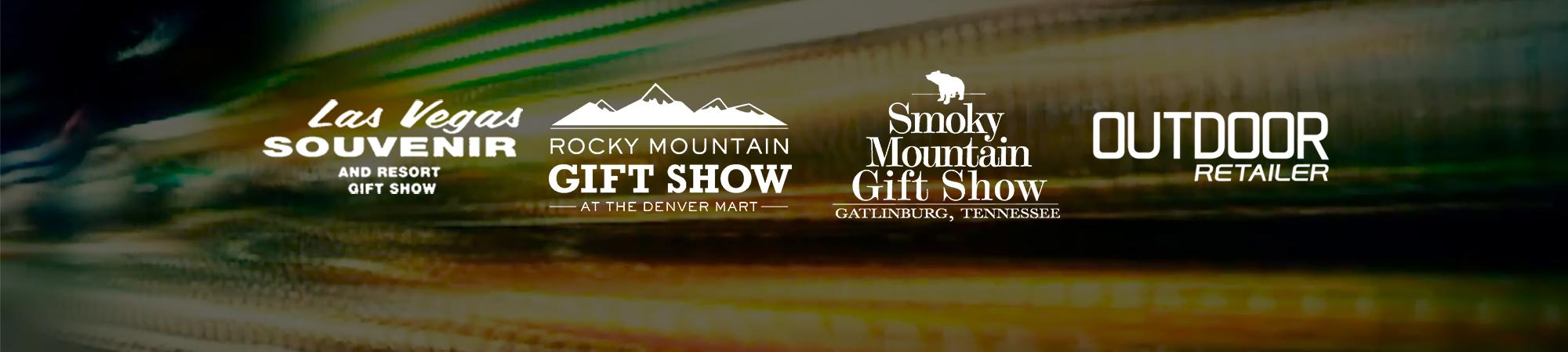 trade show logos, white, smoky mountain gift show, las vegas souvenir gift show, rocky mountain gift, outdoor retailer, renegade 2018 2019, bg