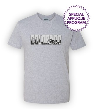 renegade basic wholesale tshirts, heather gray, special applique program