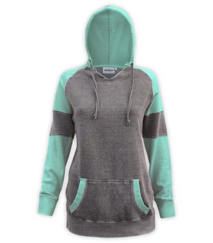 Renegade club burnout long sweatshirt, women's color block v-notch, fleece pullover hoodie, green