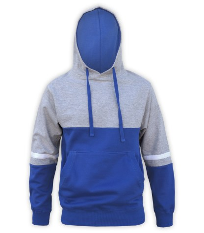 renegade tri color hoodie fleece, lt gray, royal blue, white stripes, unique fleece hoodie pullover,