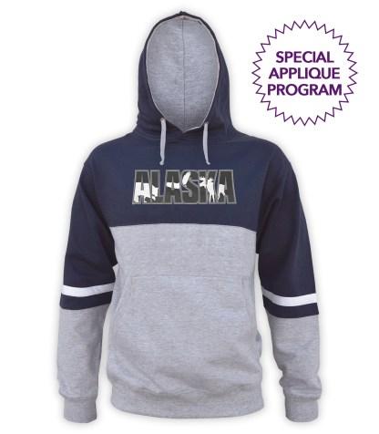 renegade tri color hoodie fleece, special applique program wholesale. lt gray, navy blue, black, dark, white stripes, unique fleece hoodie pullover, applique ALASKA, bear, moose, eagle, animals