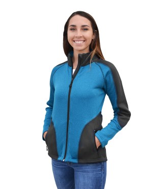 Renegade-club-womens-full-zip jacket power stretch coarse-weave fleece fitted ski blanks for embroidery wholesale