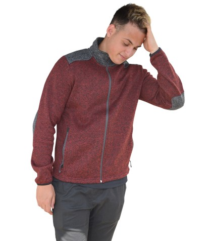 Renegade mens fleece elbow patch sweater, color blocking, maroon, zipper, wholesale blanks for embridery