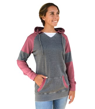Renegade brand burnout pullover, women color block, fleece hoodie, blanks for wholesale embroidery