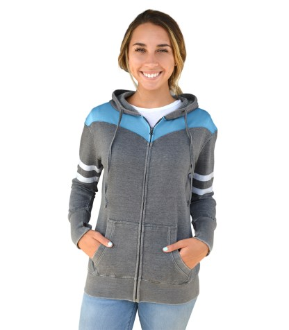 Renegade Club women burnout fleece hoodie, full zipper, white arm stripes, gray charcoal wholesale embroidery blanks