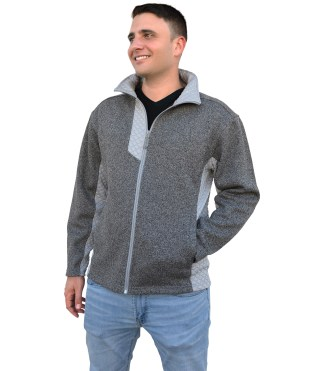 mens light coarse weave fleece, mens jacket, 3d fleece, gray renegade club blank for embroidery