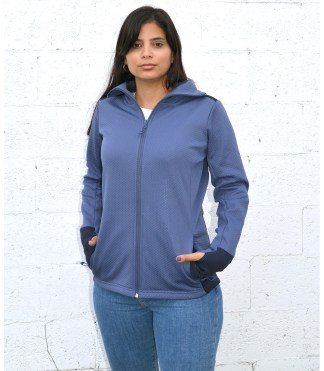 womens embossed fleece 2 tone full zip jacket blank for embroidery