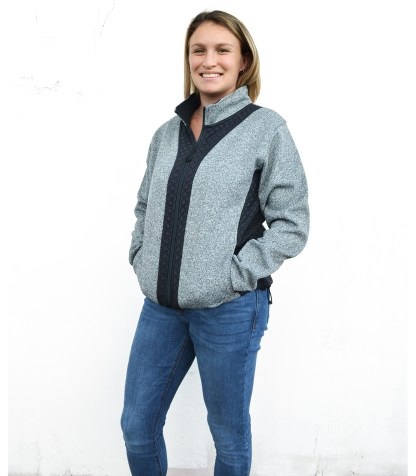 women light coarse weave and 3d fleece, bungees, full zip blank for embroidery