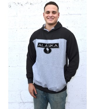 unisex black mens sherpa applique program hoodie, color blocking blanks for embroidery wholesale