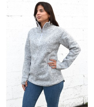 renegade club womens north shore quarter zip, half sip blanks for embroidery gray