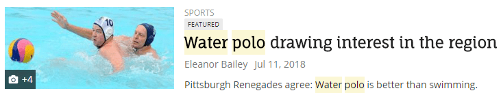 Water polo drawing interest in the region.