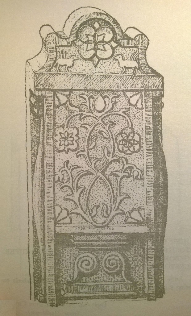 p. 67; This elaborate tombstone, one of the most beautiful in our collection, has sun spirals, quarter-suns, a tree of life with entwining double trunk (wedded life?), confrontal roosters, symbols of fertility, topped with a quatrefoil sunburst, all within a Georgian architectural framework.