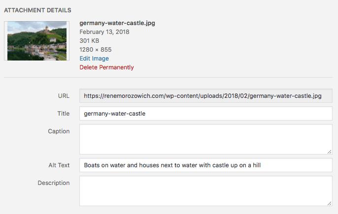 WordPress attachment details screen