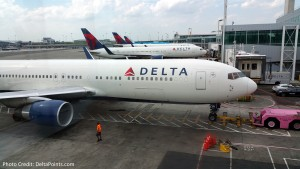 DeltaOne 757 jets at JFK airport.