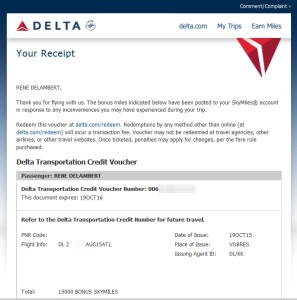 email that i will get points for ife issue atl to anc 1st class delta