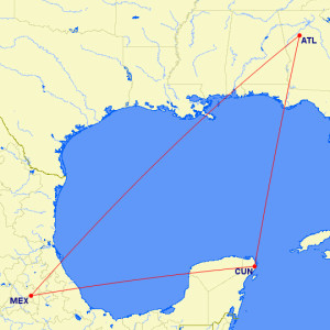 AeroMexico Atlanta to Mexico City 2015 Last Minute Mileage Run Route Map