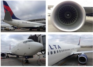 Delta Air Lines 737-900 ER plane, tail, and engines.