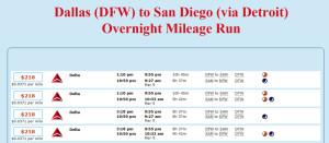 DFW-DTW-SAN March Mileage Run Schedules