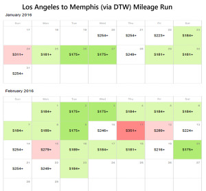 Los Angeles to Memphis Delta Air Lines Mileage Run January February 2016 Calendar