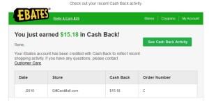 ebates on vdmc order cash back
