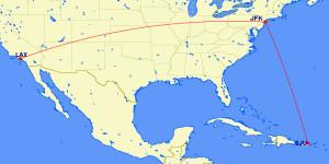 LAX-SJU Feb Mar 2016 American RouteMap