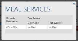 meal service on delta crj200