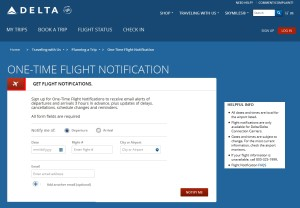 delta one time flight notification page